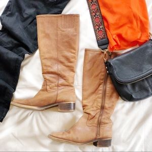 Lucky Brand Distressed Soft Leather Knee Boots